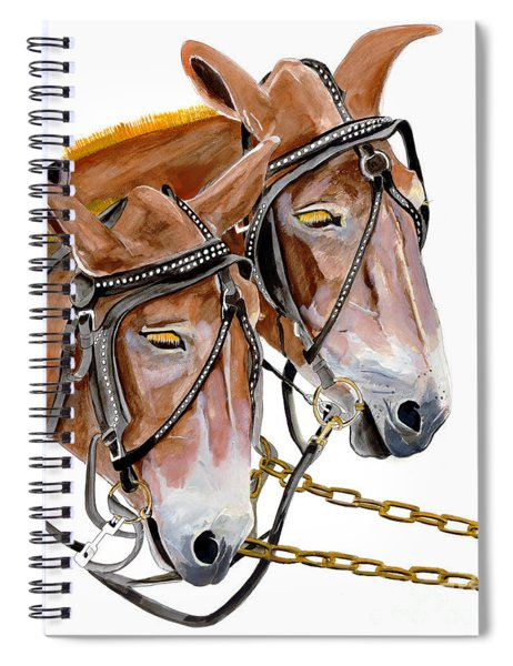 Spiral Notebook featuring the painting Two Mules - Enhanced Color - Farmer's Friend by Jan Dappen