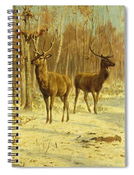 Two Stags In A Clearing In Winter Spiral Notebook