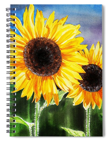 Two Suns Sunflowers Spiral Notebook