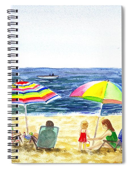 Two Umbrellas On The Beach California  Spiral Notebook