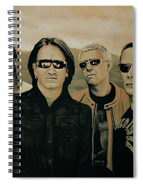 U2 Silver And Gold Spiral Notebook