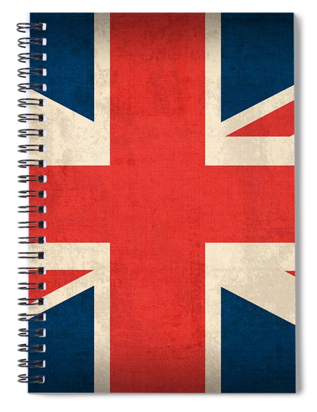 United Kingdom Union Jack England Britain Flag Vintage Distressed Finish Spiral Notebook