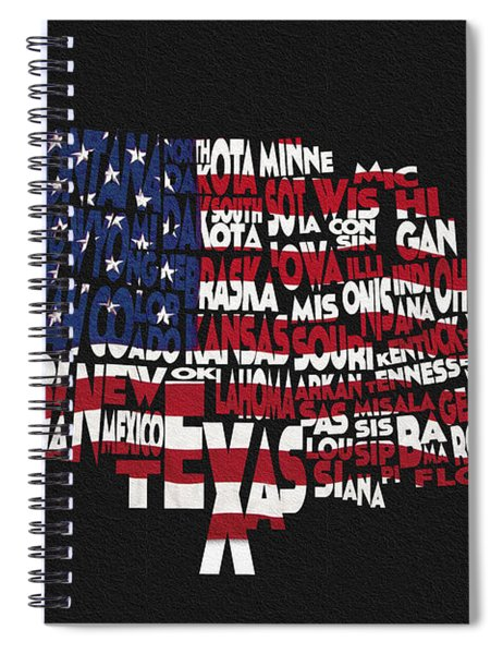 United States Typographic Map Flag - Black Background Spiral Notebook