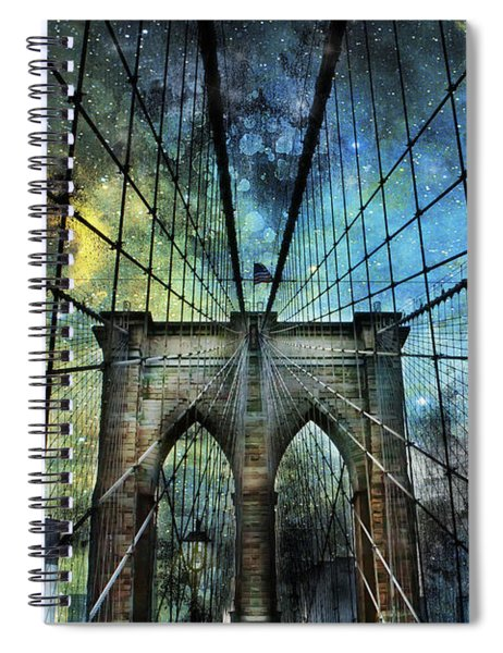 Universe And The Brooklyn Bridge Spiral Notebook