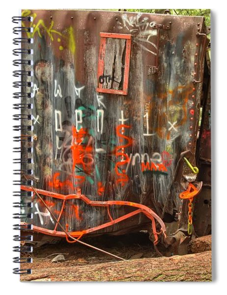 Upside Down Derailed Box Car Spiral Notebook