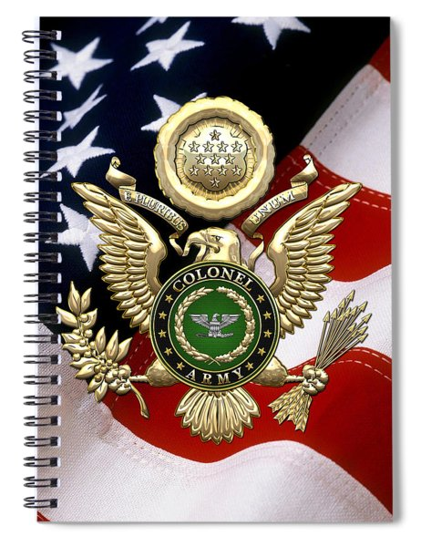 U. S. Army Colonel - C O L Rank Insignia Over Gold Great Seal Eagle And Flag Spiral Notebook