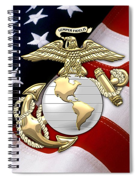 U. S. Marine Corps - U S M C Eagle Globe And Anchor Over American Flag. Spiral Notebook