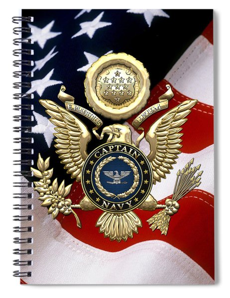 U. S.  Navy Captain - C A P T  Rank Insignia Over Gold Great Seal Eagle And Flag Spiral Notebook