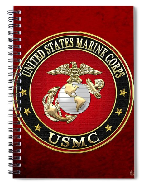 U S M C Eagle Globe And Anchor - E G A On Red Velvet Spiral Notebook