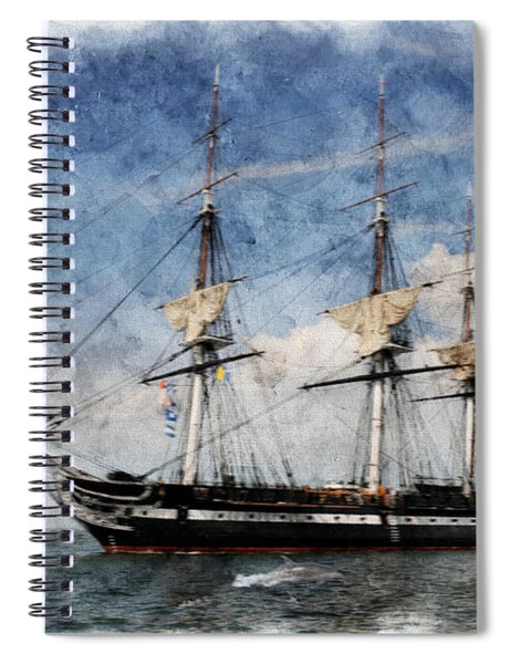 Uss Constitution On Canvas - Featured In 'manufactured Objects' Group Spiral Notebook