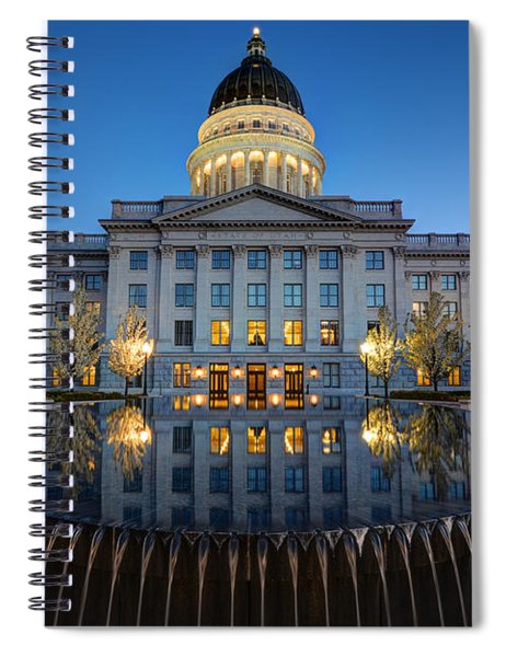 Utah State Capitol In Reflecting Fountain At Dusk Spiral Notebook