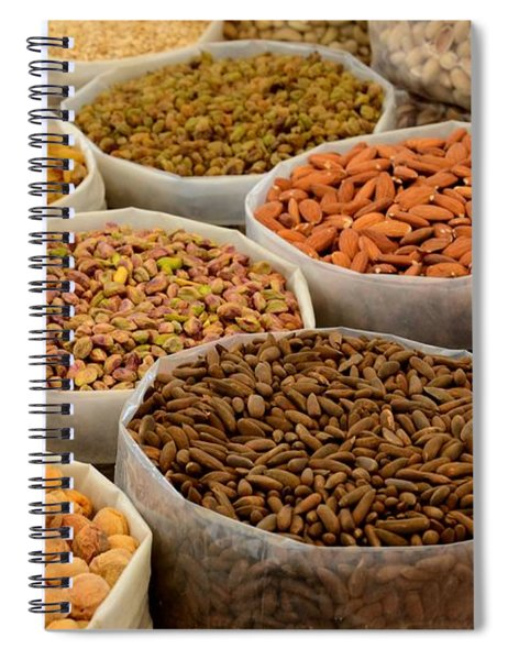 Variety Of Raw Nuts For Sale At Outdoor Street Market Karachi Pakistan Spiral Notebook