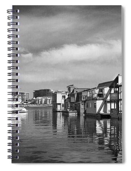 Veiw Of Marina In Victoria British Columbia Black And White Spiral Notebook