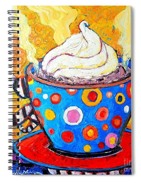 Viennese Cappuccino Whimsical Colorful Coffee Cup Spiral Notebook
