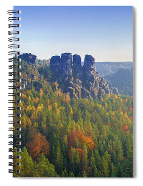 View From The Bastei Bridge In The Saxon Switzerland Spiral Notebook