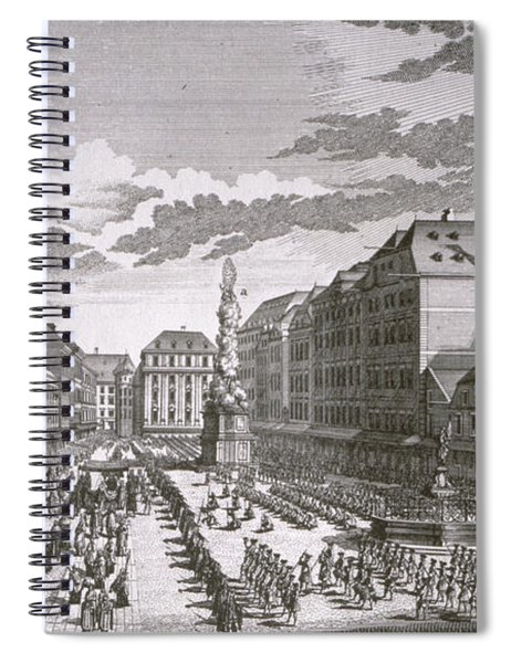 View Of A Procession In The Graben Engraved By Georg-daniel Heumann 1691-1759 Engraving Spiral Notebook