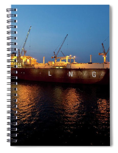 View Of Boats At Commercial Dock, Gulf Spiral Notebook