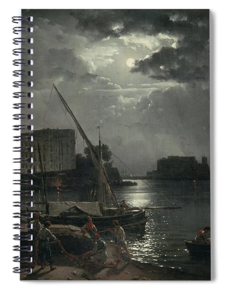 View Of Naples In Moonlight Spiral Notebook