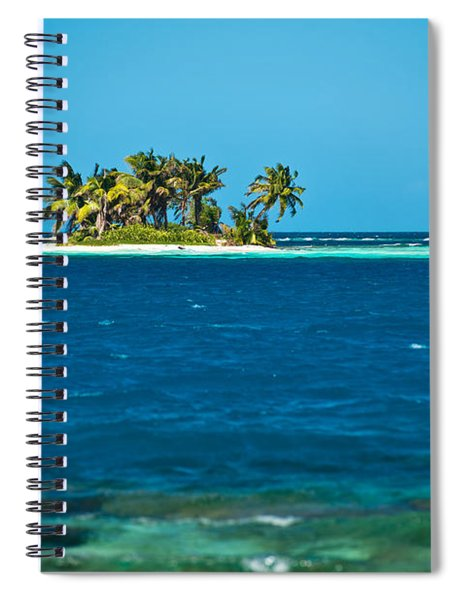View Of Silk Caye Island With Palm Spiral Notebook