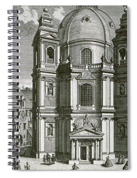 View Of The Peterskirche, Vienna Engraved By Johann Bernard Hattinger Spiral Notebook