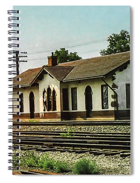Spiral Notebook featuring the photograph Villisca Train Depot by Edward Peterson