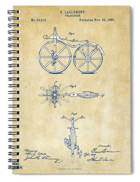 Vintage 1866 Velocipede Bicycle Patent Artwork Spiral Notebook