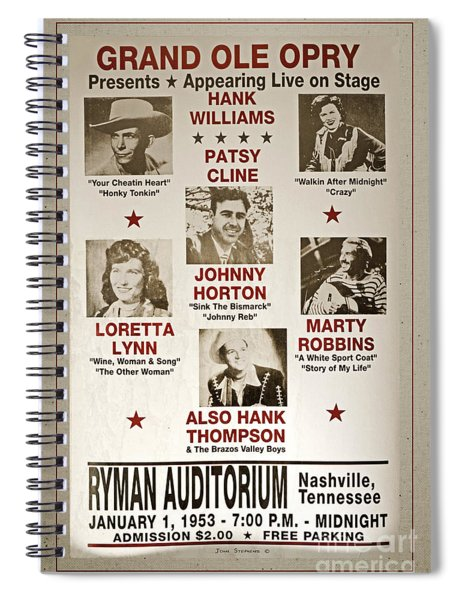 Vintage 1953 Grand Ole Opry Poster With Border Spiral Notebook