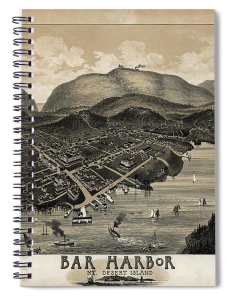 Vintage Bar Harbor Map Spiral Notebook