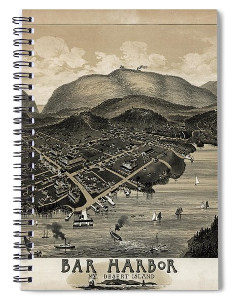 Spiral Notebook featuring the photograph Vintage Bar Harbor Map by Pd