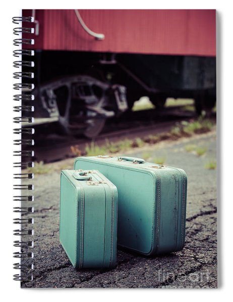 Vintage Blue Suitcases With Red Caboose Spiral Notebook