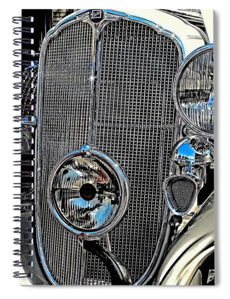 Vintage Car Art Buick Grill And Headlight Hdr Spiral Notebook