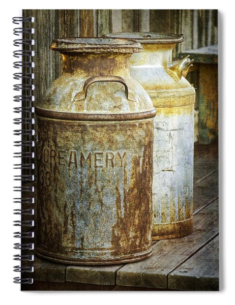 Vintage Creamery Cans In 1880 Town In South Dakota Spiral Notebook