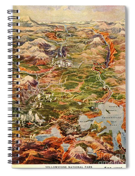 Vintage Map Of Yellowstone National Park Spiral Notebook