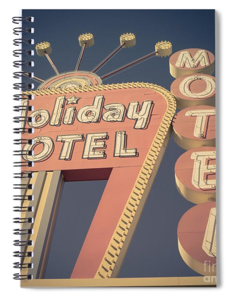 Vintage Motel Sign Holiday Motel Square Spiral Notebook by Edward Fielding