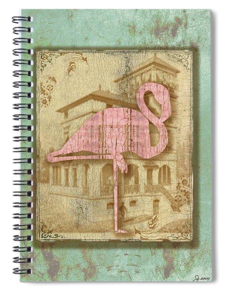 Vintage Pink Flamingo-2 Spiral Notebook