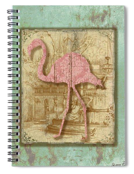 Vintage Pink Flamingo-3 Spiral Notebook