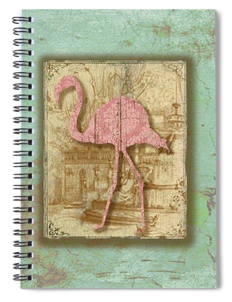 Vintage Pink Flamingo Trio-b Spiral Notebook