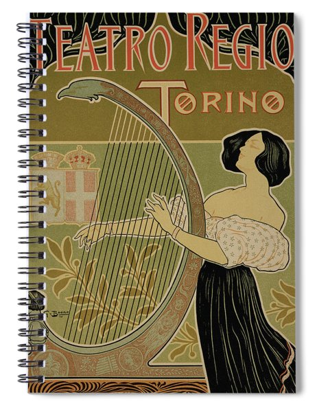 Vintage Poster Advertising The Theater Royal Turin Spiral Notebook
