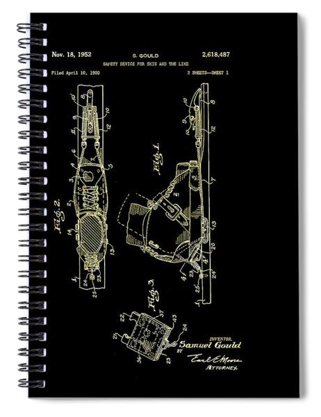 Vintage Safety Device For Skis Patent 1952 Spiral Notebook