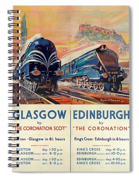 Vintage Train Travel - Glasgow And Edinburgh Spiral Notebook