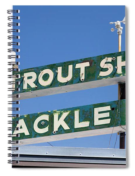 Vintage Trout Shop Sign West Yellowstone Spiral Notebook