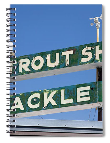 Spiral Notebook featuring the photograph Vintage Trout Shop Sign West Yellowstone by Edward Fielding