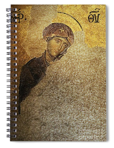 Virgin Mary-detail Of Deesis Mosaic  Hagia Sophia-day Of Judgement Spiral Notebook