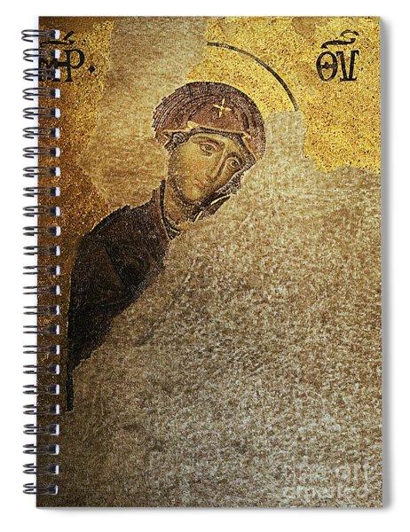 Virgin Mary-detail Of Deesis Mosaic  Hagia Sophia-day Of Judgement Spiral Notebook