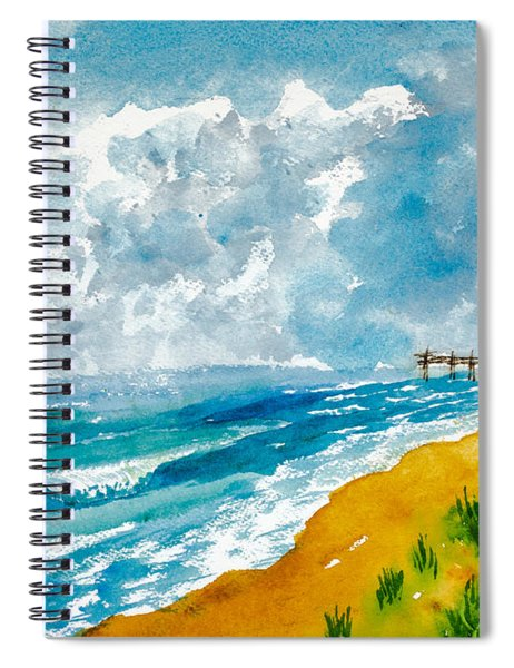 Virginia Beach With Pier Spiral Notebook