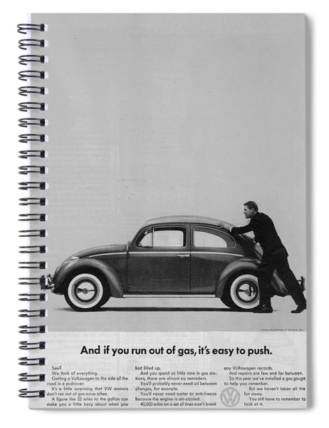 Vw Beetle Advert 1962 - And If You Run Out Of Gas It's Easy To Push Spiral Notebook
