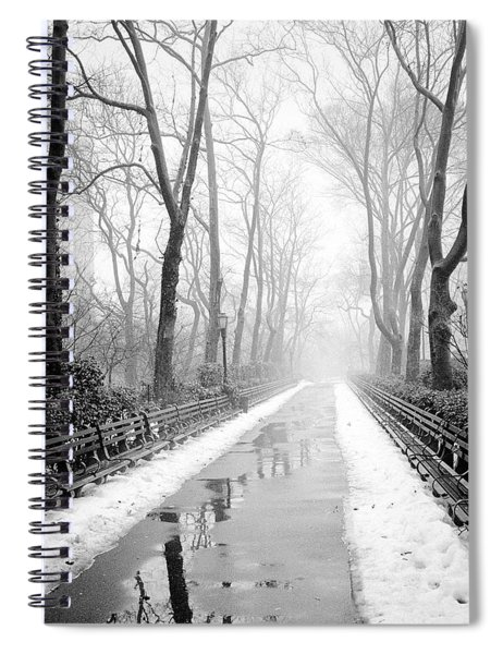 Walkway Snow And Fog Nyc Spiral Notebook