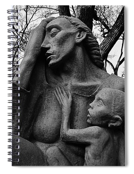 War Mother By Charles Umlauf In Black And White Spiral Notebook