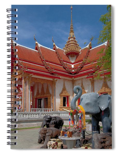 Wat Chalong Wiharn And Elephant Tribute Dthp045 Spiral Notebook