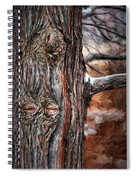 Watcher In The Woods - Tree With Knothole Eyes - Pareidolia  Spiral Notebook